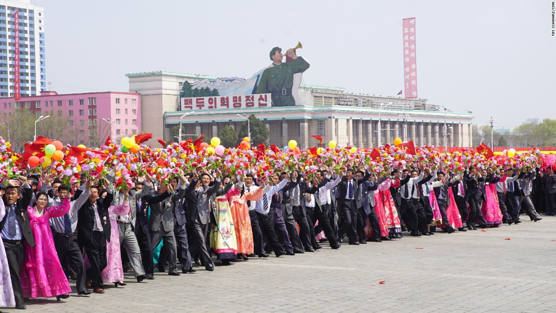 North Koreans celebrate the birthday of Kim Il Sung. He would have been 105.