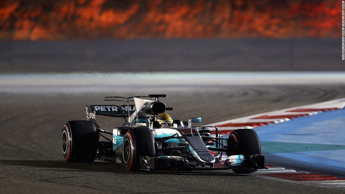 Mercedes' Lewis Hamilton on track at the Bahrain International Circuit.
