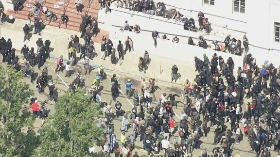 Protesters clash in Berkeley, California, on Saturday.