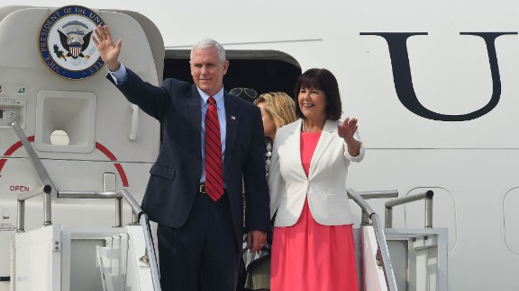 U.S. Vice President Mike Pence and his wife Karen Pence arrive at Osan airbase on April 16, 2017 in Seoul, South Korea. During the three day visit to South Korea, Vice President Pence will spend Easter Sunday with the U.S. and S. Korean troops and their families. He will also meet with Korea