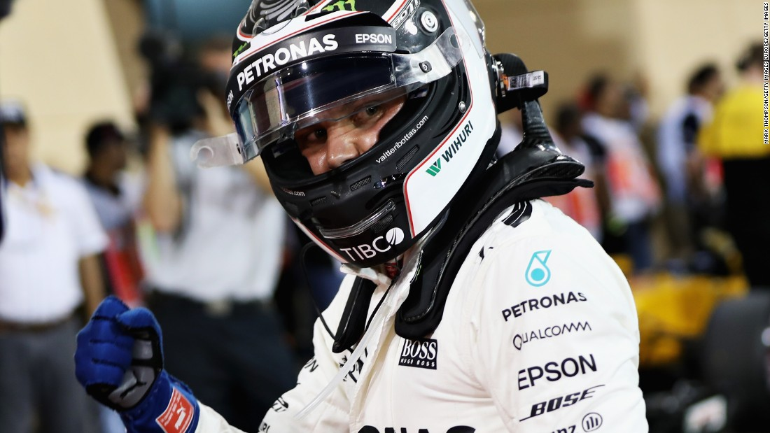 Bottas punches the air after securing pole in qualifying on Saturday.