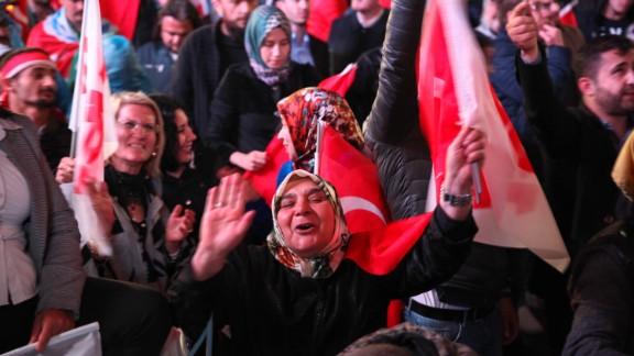 Erdogan supporters celebrate his referendum win on April 16.