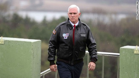 U.S. Vice President Mike Pence arrives at Observation Post Ouellette in the Demilitarized Zone (DMZ), near the border village of Panmunjom.