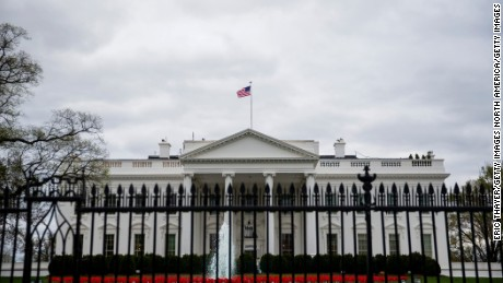 WASHINGTON, DC - APRIL 07:  The White House is seen as demonstrators gather outside to protest the recent U.S. missile strike in Syria April 7, 2017 in Washington, DC. The United States has launched a missile strike in Syria after reports that Syrian President Bashar al-Assad allegedly used nerve agent sarin gas in a recent attack in his own country. (Photo by Eric Thayer/Getty Images)