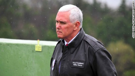 US Vice President Mike Pence visits Observation Post Ouellette near the truce village of Panmunjom in the Demilitarized Zone (DMZ) on the border between North and South Korea on April 17, 2017.