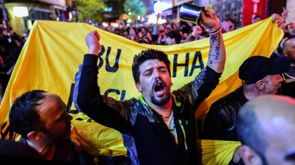 """No"" supporters gather in Istanbul to protest the referendum results on Sunday."