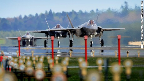 F-35A Lightning II's from the 34th Fighter Squadron at Hill Air Force Base, Utah, land at Royal Air Force Lakenheath, England, April 15, 2017. The aircraft arrival marks the first F-35A fighter training deployment to the U.S. European Command area of responsibility or any overseas location as a flying training deployment. (U.S. Air Force photo/Tech. Sgt. Matthew Plew)