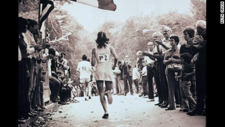 Kathrine Switzer at the New York City Marathon in 1974.