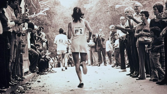 Kathrine Switzer at the New York City Marathon in 1974.