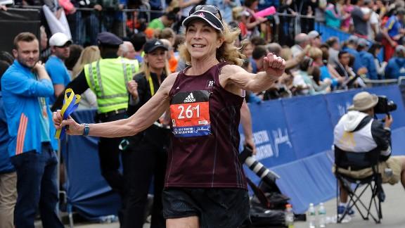 Kathrine Switzer finishes the Boston Marathon on Monday.