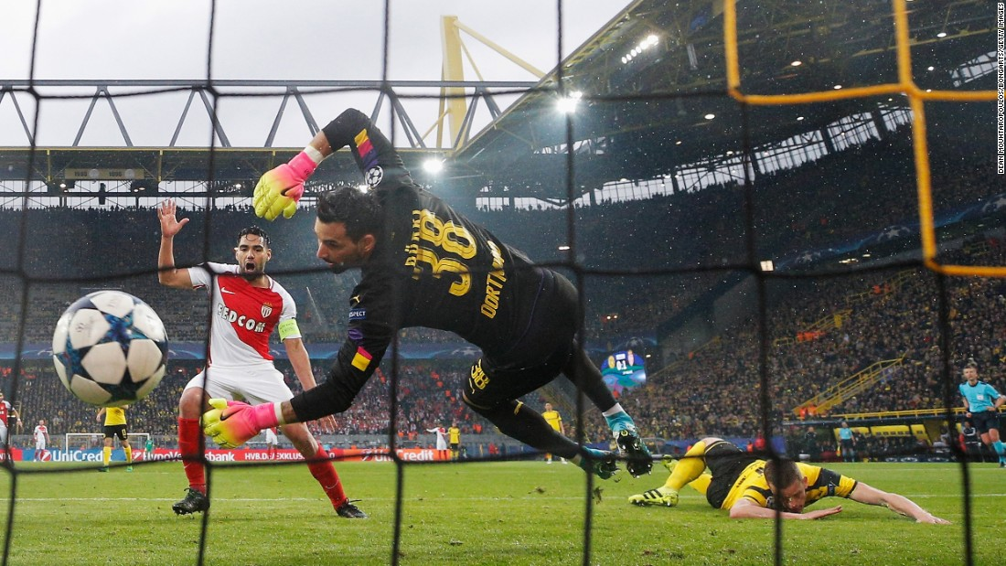 "Sven Bender of Borussia Dortmund, right, scores an own goal during a UEFA Champions League quarterfinal match against Monaco in Dortmund, Germany, on Wednesday, April 12. Monaco won 3-2. The original game was postponed after a <a href=""http://www.cnn.com/2017/04/12/europe/dortmund-explosion-germany/"" target=""_blank"">bomb attack on the Borussia Dortmund team bus</a> on Tuesday."