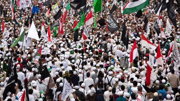 Thousands of Indonesian Muslims protest against Ahok on March 31 in Jakarta.