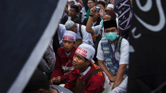 Thousands of Indonesian Muslims protest against Ahok last month in Jakarta.
