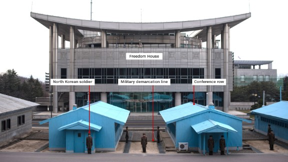 View from North Korea side of the Demilitarized Zone earlier this year, at Panmungak, looking towards Freedom House.