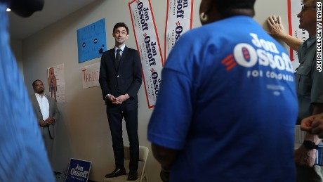 MARIETTA, GA - APRIL 18:  Democratic candidate Jon Ossoff speaks to volunteers and supporters at a campaign office as he runs for Georgia's 6th Congressional District on April 18, 2017 in Marietta, Georgia. Ossoff is running in a special election to replace Tom Price, who is now the Secretary of Health and Human Services. Today's election will fill a congressional seat that has been held by a Republican since the 1970s.  (Photo by Joe Raedle/Getty Images)