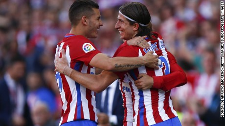MADRID, SPAIN - APRIL 15: Filipe Luis (R) of Atletico de Madrid celebrates scoring their third goal with teammate Lucas Hernandez (L) during the La Liga match between Club Atletico de Madrid and CA Osasuna at Vicente Calderon Stadium on April 15, 2017 in Madrid, Spain.  (Photo by Gonzalo Arroyo Moreno/Getty Images)