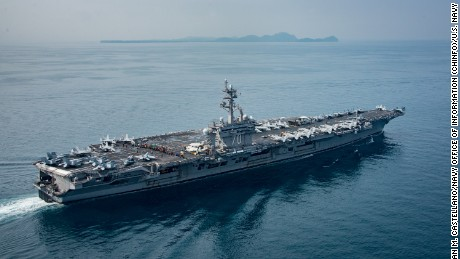The aircraft carrier USS Carl Vinson in the Sunda Strait, Indonesia, on April 15.