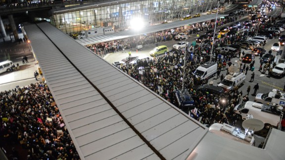 Protest against the immigration ban issued by President Donald Trump at John F. Kennedy International Airport in New York. African nationalities not included in the ban fear they are also being targeted.