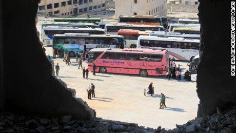 Syrians evacuated from the government-held towns of Al-Fu'ah and Kafraya.