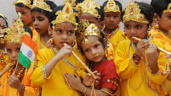 School children dressed as Hindu God Lord Krishna and Radha reenact the Mahabharata mythology in Amritsar, India.