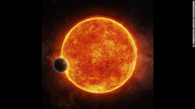 LHS 1140b is located in the liquid water habitable zone surrounding its host star, a small, faint red star named LHS 1140. The planet weighs about 6.6 times the mass of Earth and is shown passing in front of LHS 1140. Depicted in blue is the atmosphere the planet may have retained.