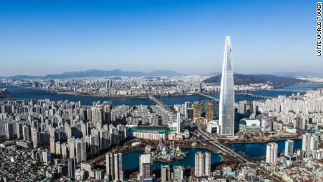 The Lotte World Tower is almost twice the size of the second tallest tower in Seoul.