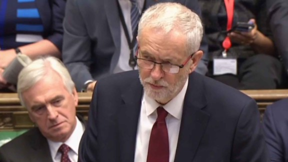 """A still image taken from footage broadcast by the UK Parliamentary Recording Unit (PRU) on April 19, 2017 shows opposition Labour party leader Jeremy Corbyn speaking during Prime Ministers questions in the House of Commons in London.Britain's parliament votes today on holding a snap election in June, as Prime Minister Theresa May seeks to make strong gains against the opposition before gruelling Brexit negotiations. / AFP PHOTO / PRU AND AFP PHOTO / Handout / RESTRICTED TO EDITORIAL USE - MANDATORY CREDIT """" AFP PHOTO / PRU """" - NO USE FOR ENTERTAINMENT, SATIRICAL, MARKETING OR ADVERTISING CAMPAIGNSHANDOUT/AFP/Getty Images"""