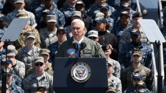 US Vice President Mike Pence speaks to US and Japanese soldiers onboard USS Ronald Reagan at the US Naval base in Yokosuka, April 19.