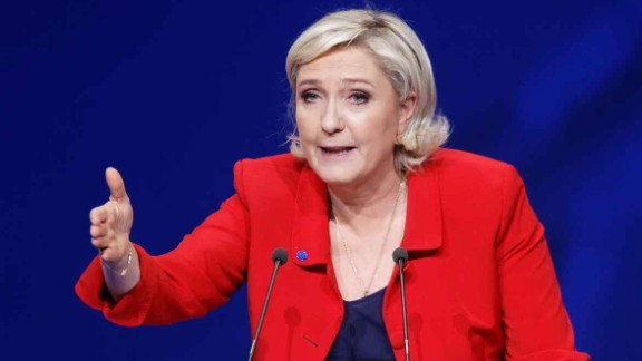 PARIS, FRANCE - APRIL 17:  French presidential far-right candidate Marine Le Pen gestures as she delivers a speech during a campaign rally at Zenith on April 17, 2017 in Paris, France.  (Photo by Sylvain Lefevre/Getty Images)