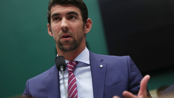 "WASHINGTON, DC - FEBRUARY 28:  American swimmer and Olympic gold medalist Michael Phelps testifies during a hearing before the Oversight and Investigations Subcommittee of House Energy and Commerce Committee February 28, 2017 on Capitol Hill in Washington, DC. The subcommittee held a hearing on ""Ways to Improve and Strengthen the International Anti-Doping System.""  (Photo by Alex Wong/Getty Images)"