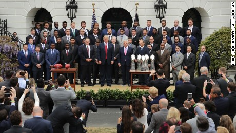 U.S. President Donald Trump poses for photographs with the New England Patriots during a celebration of the team's Super Bowl victory on the South Lawn at the White House April 19, 2017 in Washington, DC. It was the team's fifth Super Bowl victory since 1960.  (Photo by Chip Somodevilla/Getty Images)