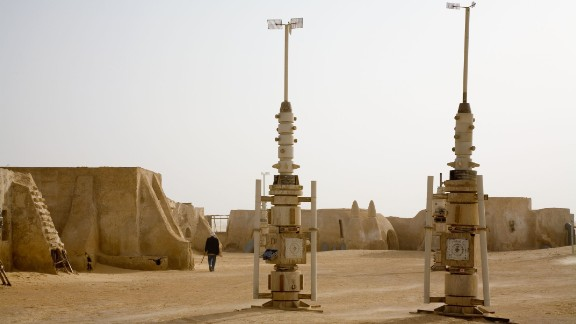 Moisture 'vaporators' on a Star Wars film set in the desert near Tozeur, Tunisia.
