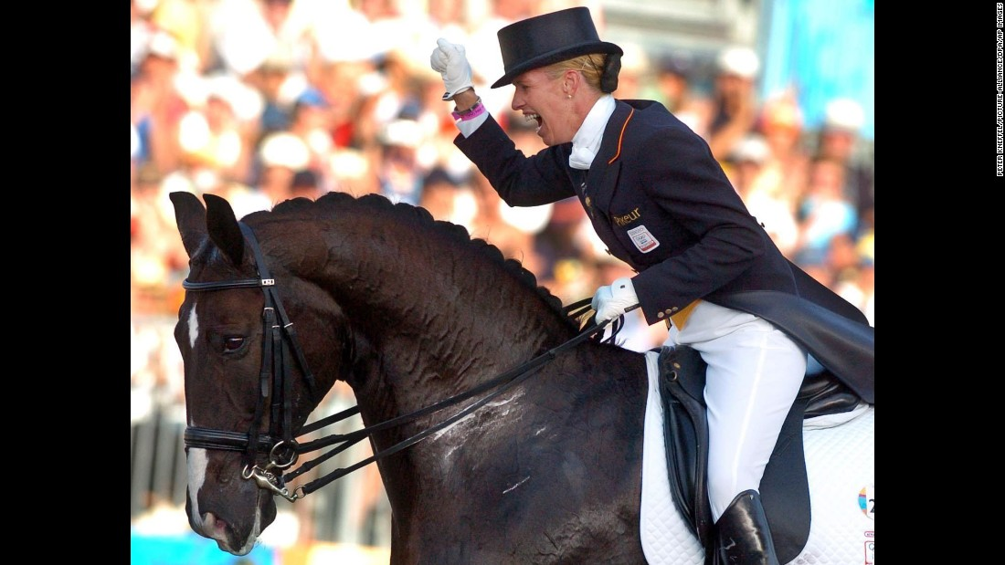 "<a href=""https://www.anky.com/en/"" target=""_blank"">Anky van Grunsven</a>, an equestrian from the Netherlands, has won three gold medals at the Olympic Games in Sydney, Athens and Hong Kong. During the 2004 Games, she competed while five months into her pregnancy. Victory was hers: She won gold."