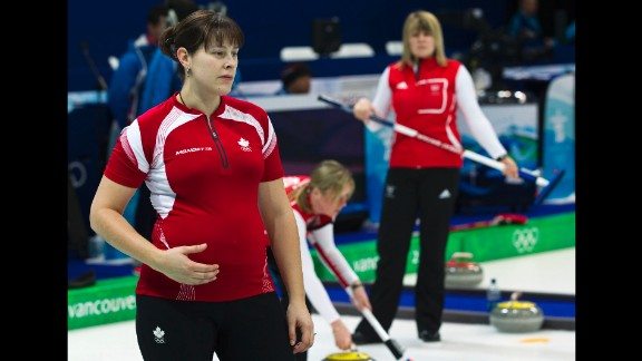 Canadian curler Kristie Moore competed while five-months pregnant in the 2010 Games. She earned a silver medal in the Vancouver Games.