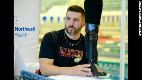 Retired Marine Corporal Dan Lasko was selected to test the new underwater prosthesis.