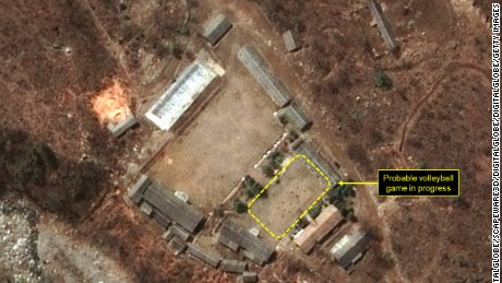 "A satellite image showing a ""probable volleyball game"" seen at the main administrative area of North Korea's Punggye-ri nuclear test site."