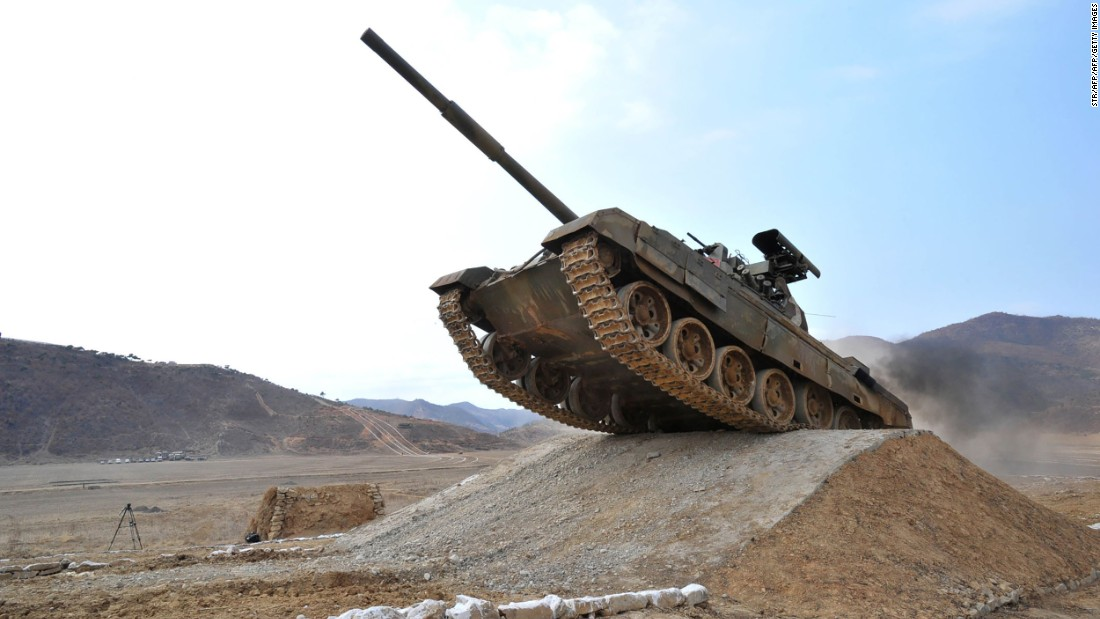 <strong>A North Korean tank participates in a competition in this 2017 picture released from North Korea's official Korean Central News Agency. North Korea has 3,500 main battle tanks in its arsenal.</strong>