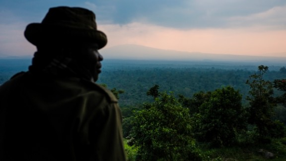 """The park brings a lot of different kinds of services that are benefiting the community,"" Katembo told CNN.   ""For instance you have the protected fisheries where many fishermen are able to sustain their families and are able to have income generation.""  Pictured, a ranger looks out over Virunga."