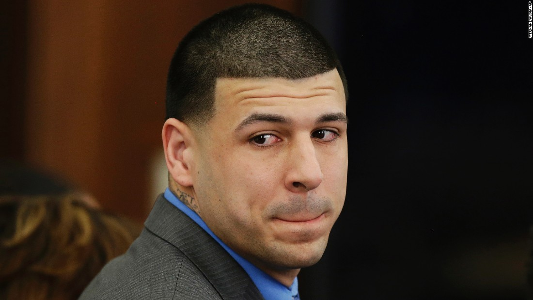 "Aaron Hernandez, a former NFL star, reacts to his <a href=""http://www.cnn.com/2017/04/14/us/aaron-hernandez-verdict/index.html"" target=""_blank"">double murder acquittal</a> at Suffolk Superior Court in Boston on Friday, April 19. Hernandez, who was already in jail for the murder of Odin Lloyd, was <a href=""http://www.cnn.com/2017/04/19/us/aaron-hernandez-suicide/index.html"" target=""_blank"">found hanged</a> in his Massachusetts prison cell just days after his acquittal."