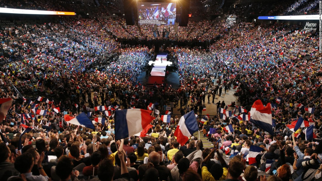 "Supporters attend a campaign rally in Paris for French presidential candidate Emmanuel Macron on Monday, April 17. The <a href=""http://edition.cnn.com/videos/world/2017/03/01/emmanuel-macron-aiming-to-win-the-presidency.cnn"" target=""_blank"">centrist</a> 39-year-old former investment banker is the biggest surprise in the <a href=""http://www.cnn.com/2017/04/20/europe/guide-to-french-election-trnd/index.html"" target=""_blank"">five-person field</a>."