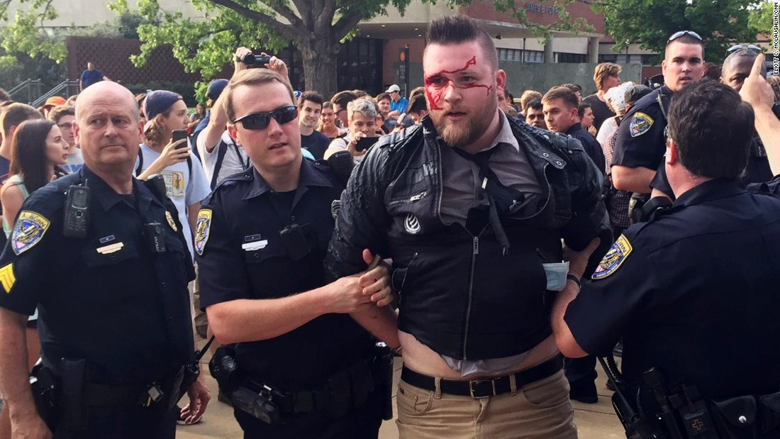 "A protester is arrested after a fight at Auburn University's Foy Hall in Auburn, Alabama, on Tuesday, April 18. <a href=""http://www.cnn.com/2017/04/18/politics/auburn-richard-spencer-protests/"" target=""_blank"">Three people were arrested</a> amid mostly peaceful protests over the appearance of white nationalist Richard Spencer."