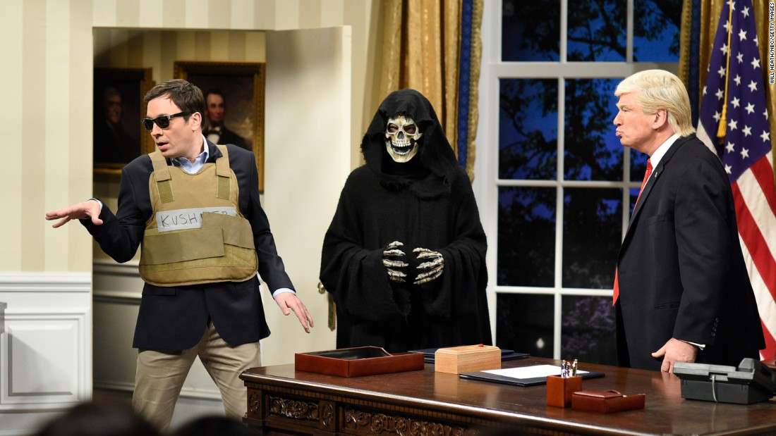 "A ""Saturday Night Live"" sketch features Jimmy Fallon as Jared Kushner, left, Grim Reaper as Steve Bannon and Alec Baldwin as US President Donald Trump on Saturday, April 15."