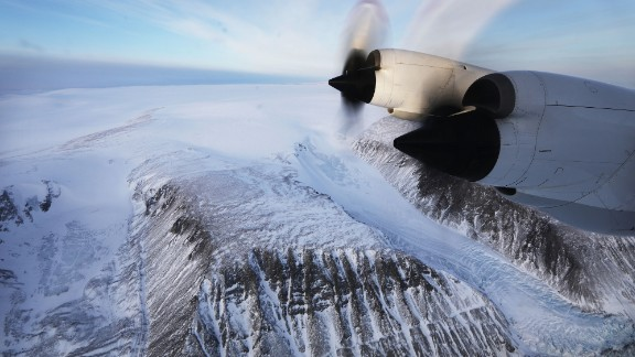 A NASA research aircraft flies over retreating glaciers on the Upper Baffin Bay coast of Greenland. Scientists say the Arctic is one of the regions hit hardest by climate change.