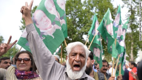 Supporters of Nawaz celebrate after Thursday's Supreme Court verdict in Islamabad, Pakistan.