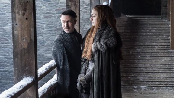 "Aidan Gillen as Petyr ""Littlefinger"" Baelish and Sophie Turner as Sansa Stark"