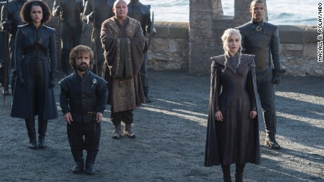 (Left to Right) Nathalie Emmanuel as Missandei, Peter Dinklage as Tyrion Lannister, Conleth Hill as Varys, Emilia Clarke as Daenerys Targaryen, and Jacob Anderson as Grey Worm