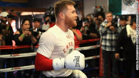 NATIONAL CITY, CA - APRIL 19:  Boxer Canelo Alvarez of Mexico laughs in the ring during his Open Workout at the House of Boxing  on April 19, 2017 in National City, California.   Canelo Alvarez fights Julio Cesar Chavez Jr. on May 6, 2017 in Las Vegas, Nevada.  (Photo by Sean M. Haffey/Getty Images)