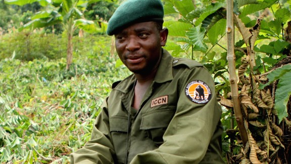 Rodrigue Mugaruka Katembo was forced to be a child soldier in the armed conflict that has engulfed the Democratic Republic of Congo for the past few decades.   Today, as a ranger he risks his life to protect Congo's critically endangered species. He's one of six recipients of this year's prestigious Goldman Environmental Prize.   Pictured: Katembo during an anti-poaching operation in Virunga National Park.