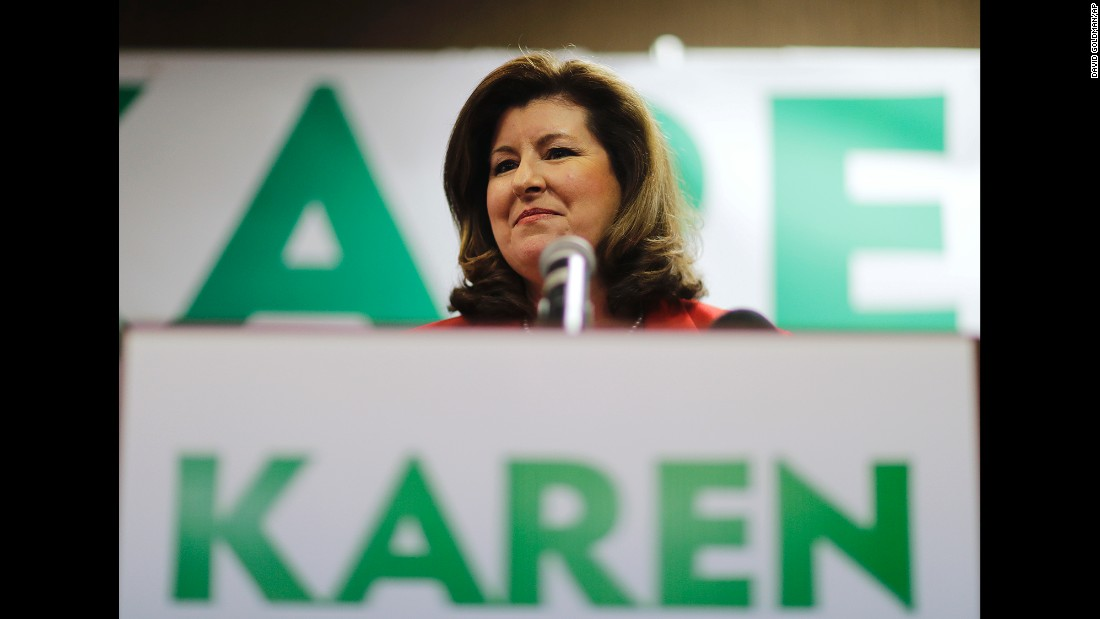 "Karen Handel, Republican candidate for Georgia's 6th Congressional District seat, updates supporters on early results at a special election-night watch party in Roswell, Georgia, on Tuesday, April 18. Handel finished second in the special election and will face off in June with the top vote-getter, <a href=""http://www.cnn.com/2017/04/19/politics/georgia-special-election-results-analysis/index.html"" target=""_blank"">Democratic candidate Jon Ossoff</a>. The race is to replace Tom Price, who is now President Trump's health and human services secretary."