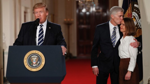 Trump speaks in the East Room of the White House as he announces Neil Gorsuch as his Supreme Court nominee on Tuesday, January 31. Gorsuch -- at right with his wife, Louise -- would replace Justice Antonin Scalia, who died last year.